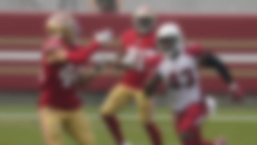 San Francisco 49ers fullback Kyle Juszczyk (44) catches a pass against Arizona Cardinals outside linebacker Haason Reddick (43) during the second half of an NFL football game in Santa Clara, Calif., Sunday, Sept. 13, 2020. (AP Photo/Tony Avelar)