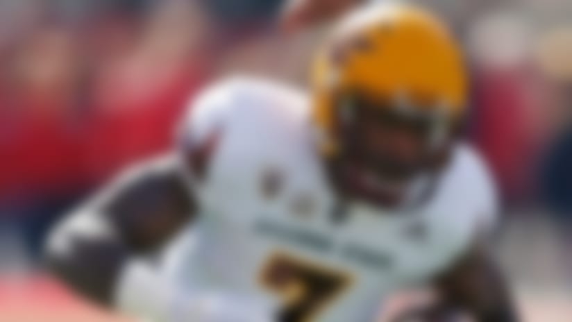 Arizona State running back Kalen Ballage (7) carries the ball against Utah in the first half of an NCAA college football game Saturday, Oct. 21, 2017, in Salt Lake City. (AP Photo/Rick Bowmer)