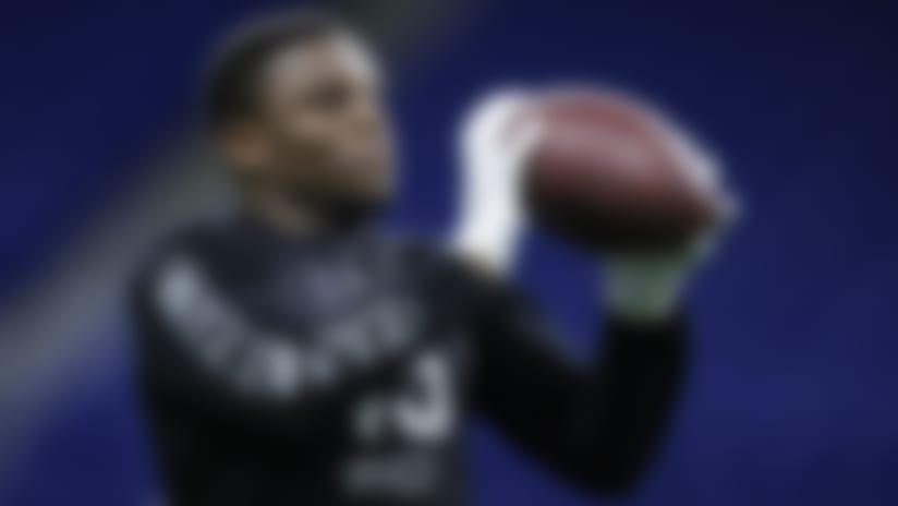 FILE - In this Feb. 27, 2020, file photo, TCU wide receiver Jalen Reagor runs a drill at the NFL football scouting combine in Indianapolis. Reagor is a possible pick in the NFL Draft which runs Thursday, April 23, 2020 thru Saturday, April 25. (AP Photo/Michael Conroy, File)