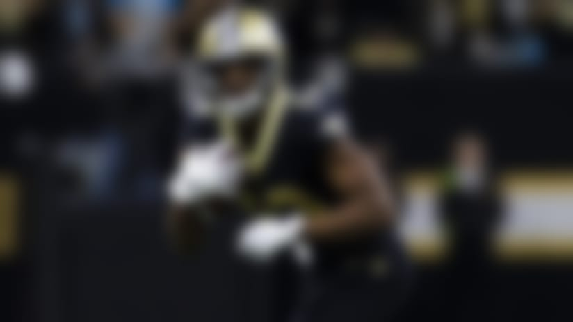 New Orleans Saints wide receiver Michael Thomas (13) runs after the catch during an NFL regular season football game against the Carolina Panthers on Sunday, Nov. 24, 2019 in New Orleans. The Saints won, 34-31. (Ric Tapia via AP)
