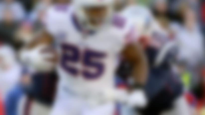 New England Patriots defensive lineman Ufomba Kamalu (97) tackles Buffalo Bills running back LeSean McCoy (25) during the first half of an NFL football game, Sunday, Dec. 23, 2018, in Foxborough, Mass. (AP Photo/Elise Amendola)