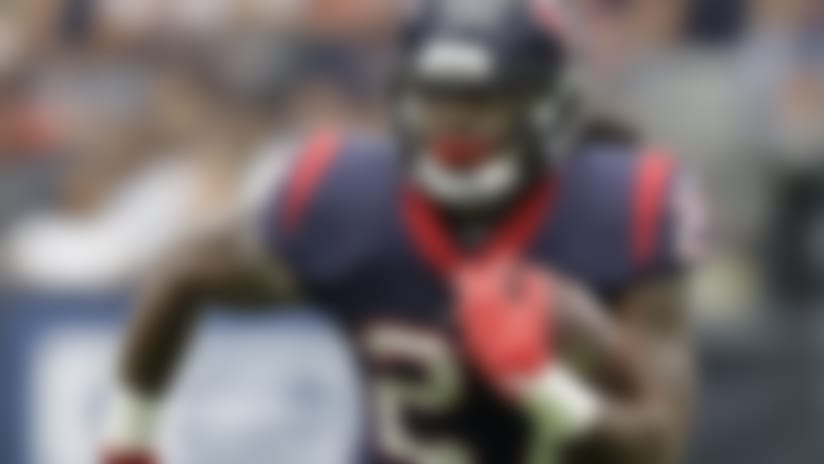 Houston Texans running back D'Onta Foreman (27) breaks out for a long run against the Cleveland Browns in the first half of an NFL football game, Sunday, Oct. 15, 2017, in Houston. (AP Photo/Eric Gay)