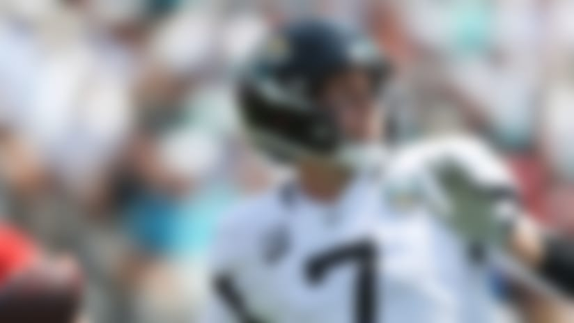 Jacksonville Jaguars quarterback Nick Foles (7) throws a pass during an NFL football game against the Kansas City Chiefs, Sunday, Sept. 8, 2019, in Jacksonville, Fla. The Chiefs defeated the Jaguars 40-26. (AP Photo/Perry Knotts)