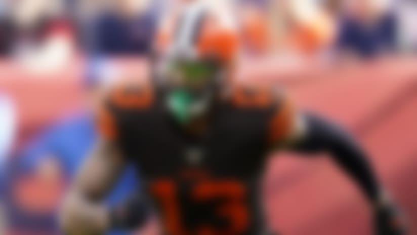 Cleveland Browns wide receiver Odell Beckham (13) lines up against Denver Broncos cornerback Chris Harris (25) during the first half of NFL football game, Sunday, Nov. 3, 2019, in Denver. (AP Photo/Jack Dempsey)