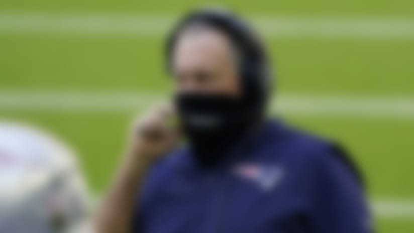 New England Patriots head coach Bill Belichick wears a face mask on the sidelines during the first half of an NFL football game against the Houston Texans, Sunday, Nov. 22, 2020, in Houston. (AP Photo/David J. Phillip)