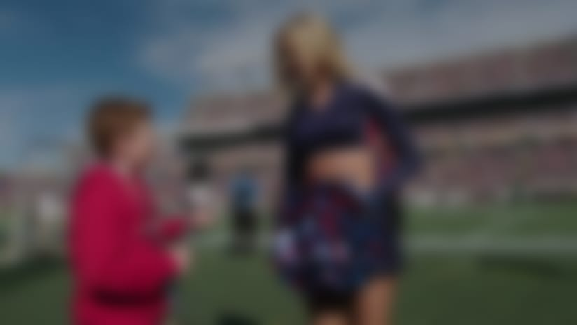Tennessee Titans cheerleader Elizabeth quizzed by UK kid reporter Braydon Bent