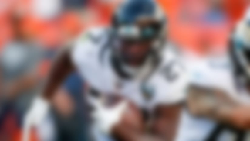 Jacksonville Jaguars running back Leonard Fournette runs with the ball during the second half of an NFL football game against the Denver Broncos, Sunday, Sept. 29, 2019, in Denver. (AP Photo/David Zalubowski)