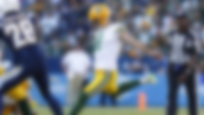 Green Bay Packers kicker Mason Crosby (2) during an NFL football game against the Los Angeles Chargers, Sunday, Nov. 3, 2019 in Carson, Calif. (Ryan Kang/NFL)