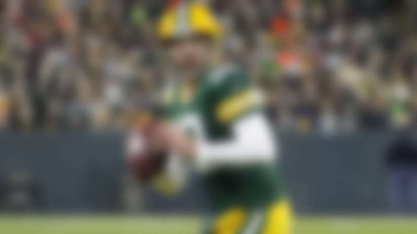 Green Bay Packers quarterback Aaron Rodgers looks to pass during an NFL football game between the Green Bay Packers and Carolina Panthers Monday, Nov. 11, 2019, in Green Bay, Wis. (AP Photo/Matt Ludtke)