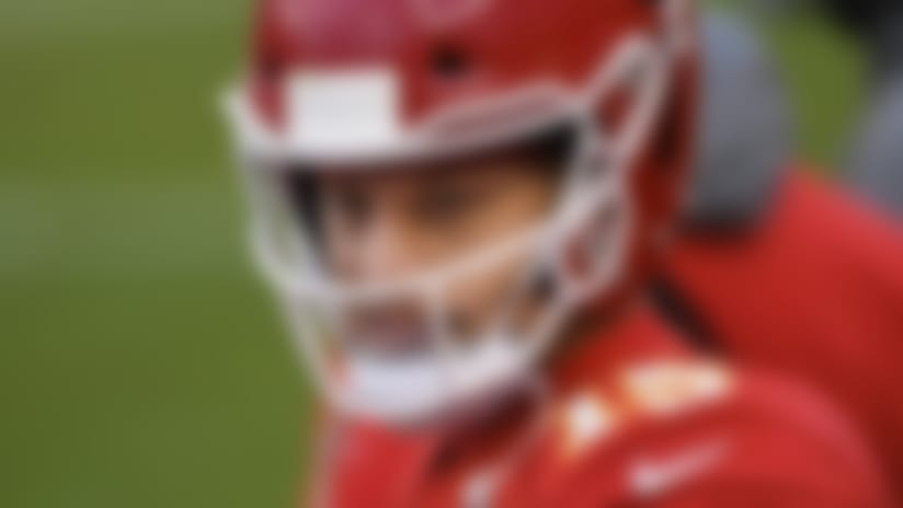 Kansas City Chiefs quarterback Patrick Mahomes (15) on the sidelines during the NFL divisional round football game against the Cleveland Browns, Sunday, Jan. 17, 2021, in Kansas City, Mo. (AP Photo/Reed Hoffmann)