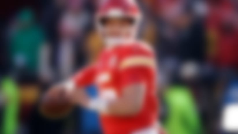 Kansas City Chiefs quarterback Patrick Mahomes (15) before the NFL AFC Championship football game against the Tennessee Titans Sunday, Jan. 19, 2020, in Kansas City, MO. (AP Photo/Charlie Riedel)