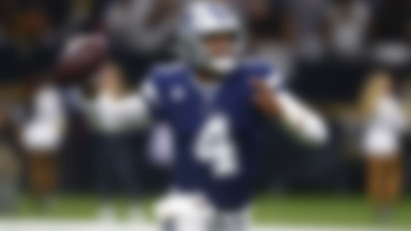 Dallas Cowboys quarterback Dak Prescott (4) scrambles in the second half of an NFL football game against the New Orleans Saints in New Orleans, Sunday, Sept. 29, 2019. (AP Photo/Butch Dill)