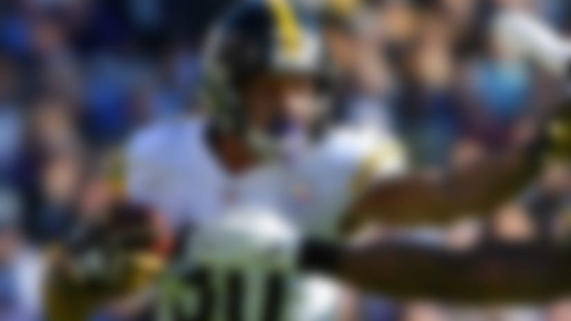 Pittsburgh Steelers running back James Conner, left, rushes past Baltimore Ravens outside linebacker Matt Judon in the first half of an NFL football game, Sunday, Nov. 4, 2018, in Baltimore. (AP Photo/Gail Burton)