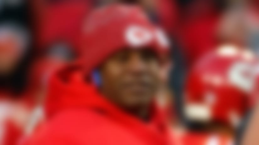 Kansas City Chiefs offensive coordinator Eric Bieniemy before the AFC Championship NFL football game, Sunday, Jan. 20, 2019, in Kansas City, Mo. (AP Photo/Charlie Riedel)