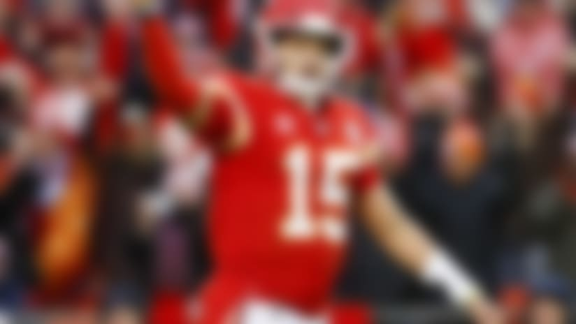 Kansas City Chiefs quarterback Patrick Mahomes (15) celebrates after leading his team to a touchdown during an NFL divisional playoff football game against the Houston Texans, Sunday, Jan. 12, 2020, in Kansas City, Mo. Kansas City won 51-31. (Aaron M. Sprecher via AP)