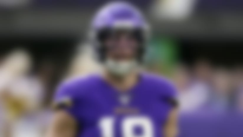 Minnesota Vikings wide receiver Adam Thielen positions for a play during an NFL football game, Sunday, Sept. 22, 2019, in Minneapolis. (AP Photo/Jim Mone)