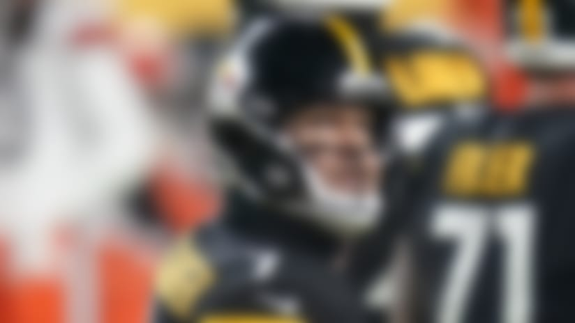 Pittsburgh Steelers quarterback Ben Roethlisberger (7) looks at the scoreboard as he walks off the field during the first half of an NFL wild-card playoff football game against the Cleveland Browns, Sunday, Jan. 10, 2021, in Pittsburgh. (AP Photo/Keith Srakocic)