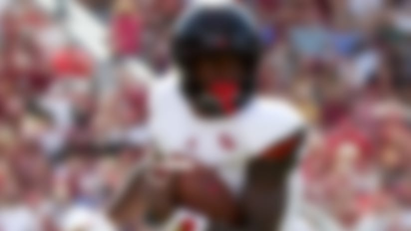 Louisville quarterback Lamar Jackson (8) runs the ball during a game against Florida State, Saturday, Oct. 21, 2017, in Tallahassee, Fla. (Logan Bowles via AP)