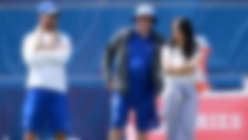 Kim Pegula (right) and her husband, Terry -- shown alongside general manager Doug Whaley -- have taken an active role in running the Bills.