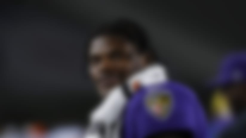 Baltimore Ravens quarterback Lamar Jackson (8) stands on the sideline during an NFL football game against the Los Angeles Rams, Monday, Nov. 25, 2019, in Los Angeles. Baltimore won 45-6. (Aaron M. Sprecher via AP)