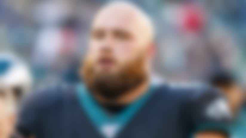 Philadelphia Eagles offensive tackle Lane Johnson (65) looks on during the the NFL football game against the Chicago Bears, Sunday, Nov. 3, 2019, in Philadelphia. The Eagles won 22-14. (AP Photo/Chris Szagola)