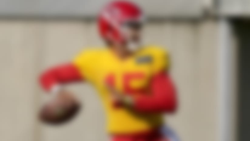 Kansas City Chiefs quarterback Patrick Mahomes throws a pass during NFL football training camp Friday, Aug. 21, 2020, in Kansas City, Mo. (AP Photo/Charlie Riedel)
