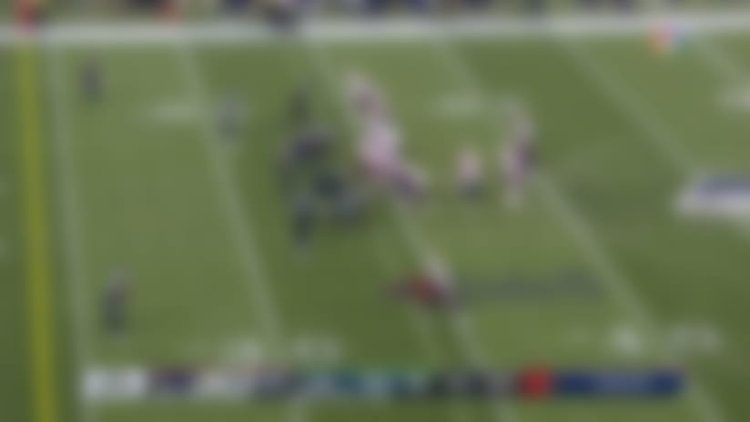 Edelman comes up just shy of the goal line on laser pass from Cam Newton