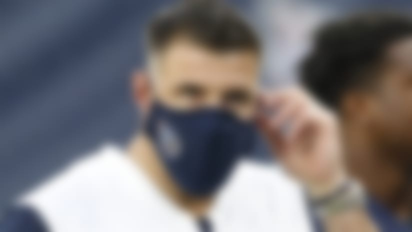 Tennessee Titans head coach Mike Vrabel leaves the field after the first half of an NFL football game between the Titans and the Houston Texans Sunday, Oct. 18, 2020, in Nashville, Tenn. (AP Photo/Wade Payne)