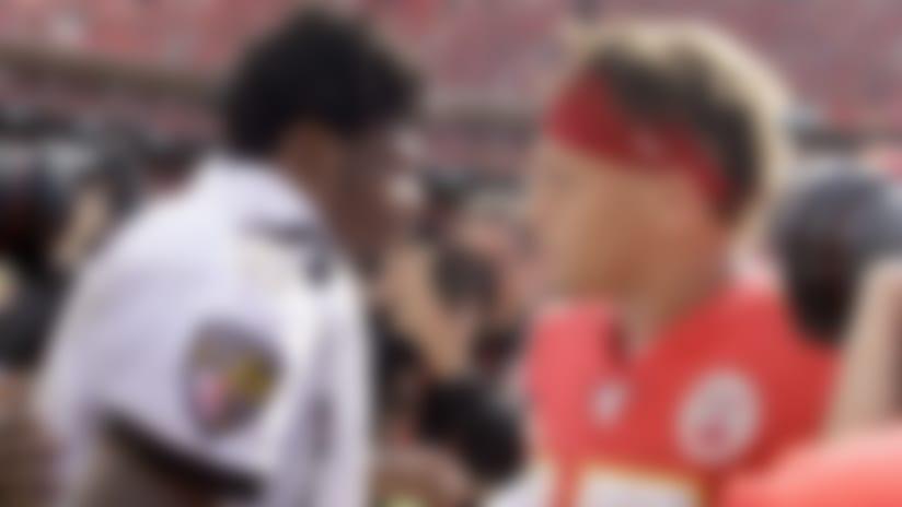 Kansas City Chiefs quarterback Patrick Mahomes, right, and Baltimore Ravens quarterback Lamar Jackson (8) greet each other after their NFL football game Sunday, Sept. 22, 2019, in Kansas City, Mo. (AP Photo/Charlie Riedel)