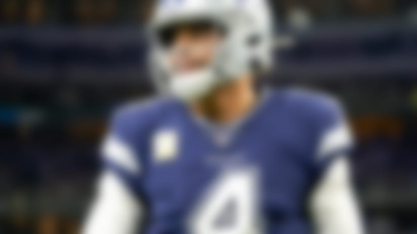 Dallas Cowboys quarterback Dak Prescott (4) warms up before an NFL football game against the Minnesota Vikings, Sunday, Nov. 10, 2019, in Arlington, Texas. The Vikings beat the Cowboys 28-24. (Cooper Neill via AP)