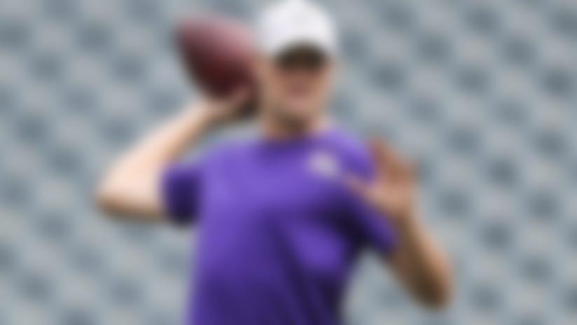 Minnesota Vikings quarterback Kirk Cousins (8) throws a pass prior to an NFL football game against the Philadelphia Eagles on Sunday, Oct. 7, 2018 in Philadelphia. (Perry Knotts via AP)