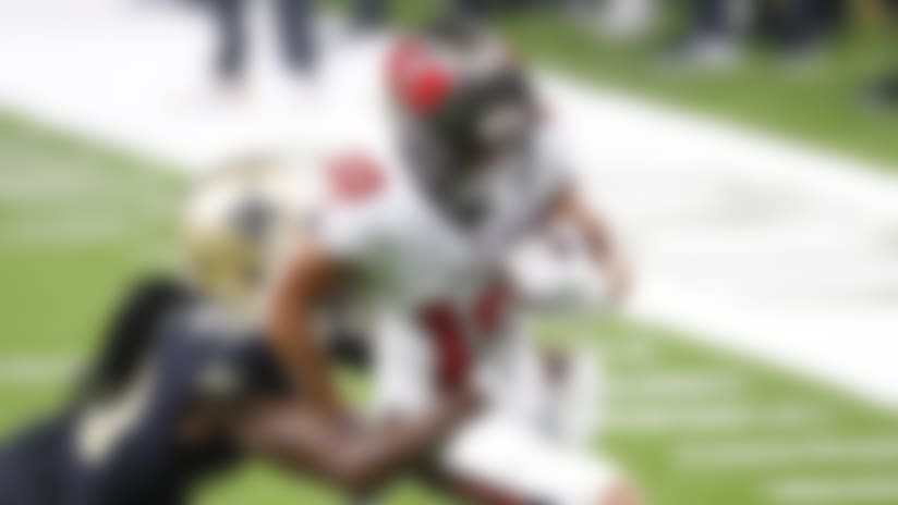 Tampa Bay Buccaneers wide receiver Scotty Miller (10) is tackled by New Orleans Saints cornerback Janoris Jenkins (20) during an NFL football game, Sunday, Sept. 13, 2020, in New Orleans. (AP Photo/Tyler Kaufman)