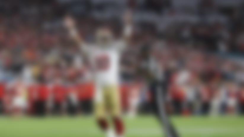 San Francisco 49ers quarterback Jimmy Garoppolo (10) celebrates during the NFL Super Bowl LIV football game against the Kansas City Chiefs, Sunday, Feb. 2, 2020 in Miami.