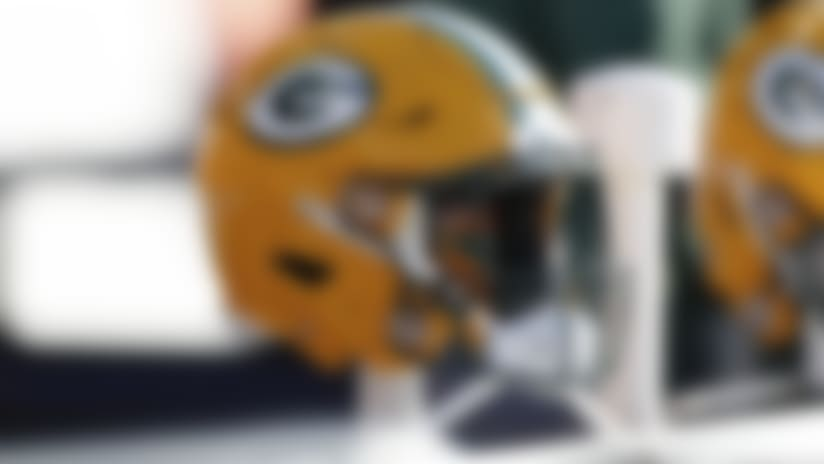A detail view of a Green Bay Packers helmet that is seen on the sideline during an NFL football game between the Green Bay Packers against the Chicago Bears, Sunday, Dec. 16, 2018 in Chicago. The Bears won 24-17. (Scott Boehm via AP)