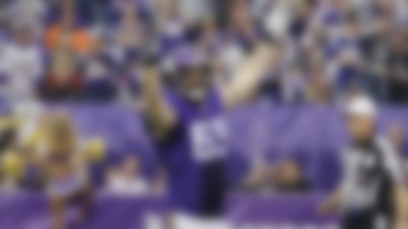 Minnesota Vikings defensive end Jared Allen celebrates after sacking Detroit Lions quarterback Matthew Stafford during the first half of an NFL football game, Sunday, Dec. 29, 2013, in Minneapolis. (AP Photo/Ann Heisenfelt)
