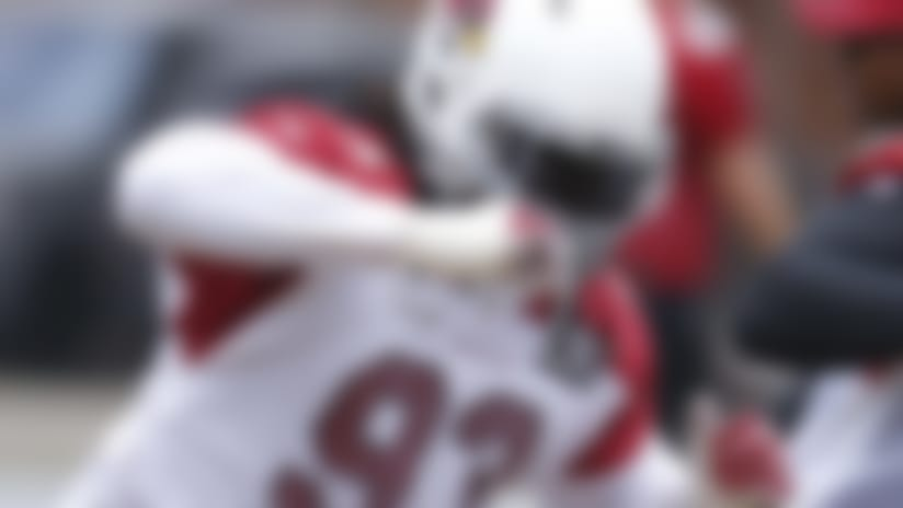 Arizona Cardinals defensive tackle Darius Philon (93) warms up during voluntary camp in Tempe, Ariz., Monday, May 20, 2019. (Rick Scuteri via AP)