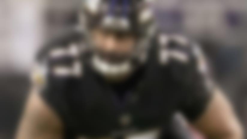 Baltimore Ravens tackle Austin Howard (77) run blocks  in action against  the Houston Texans on  Monday November 27 2017 at M & T Bank Stadium  in Baltimore.  (Damian Strohmeyer via  AP)