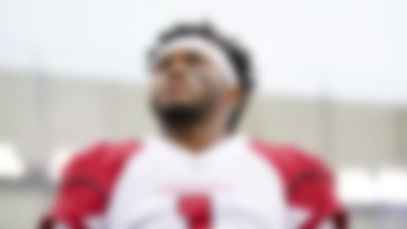 Arizona Cardinals quarterback Kyler Murray (1) stands on the sidelines during the National Anthem prior to an NFL football game against the Cincinnati Bengals, Sunday, Oct. 06, 2019, in Cincinnati. The Cardinals won 26-23. (Aaron Doster via AP)