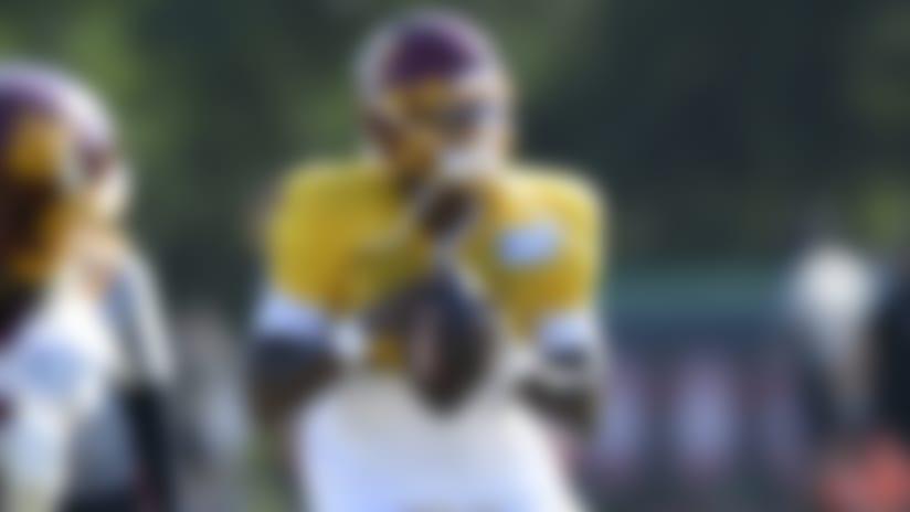 Washington quarterback Dwayne Haskins Jr. (7) looks to pass during practice at the team's NFL football training facility, Monday, Aug. 24, 2020, in Ashburn, Va. (AP Photo/Nick Wass)