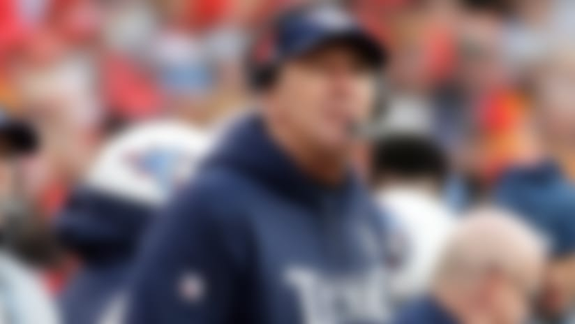 Tennessee Titans head coach Mike Mularkey looks at the scoreboard during the first half of an NFL wild-card playoff football game against Kansas City Chiefs in Kansas City, Mo., Saturday, Jan. 6, 2018. (AP Photo/Charlie Riedel)