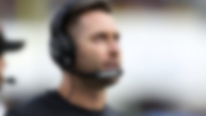 Arizona Cardinals head coach Kliff Kingsbury looks up from the sideline during a NFL football game against the Los Angeles Rams, Sunday, Dec. 29, 2019 in Los Angeles. The Rams won the game 31-24. (Paul Jasienski via AP)