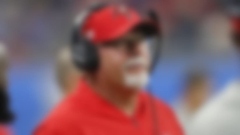 Tampa Bay Buccaneers head coach Bruce Arians is seen during the first half of an NFL football game against the Detroit Lions, Sunday, Dec. 15, 2019, in Detroit. (AP Photo/Paul Sancya)