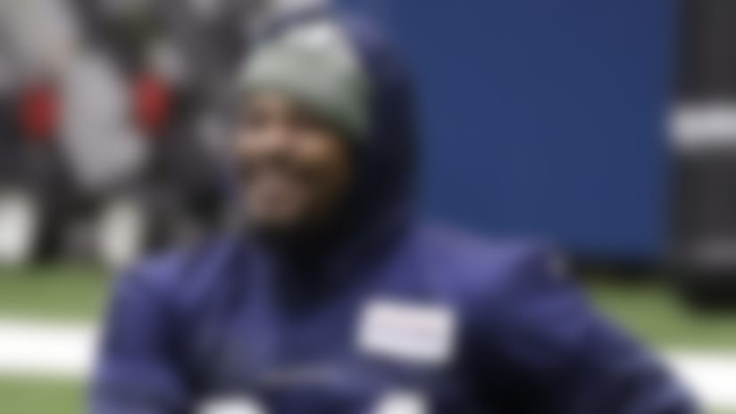 Seattle Seahawks running back Marshawn Lynch stretches during warmups at the NFL football team's practice facility Tuesday, Dec. 24, 2019, in Renton, Wash. When Lynch played his last game for the Seahawks in 2016, the idea of him ever wearing a Seahawks uniform again seemed preposterous. Yet, here are the Seahawks getting ready to have Lynch potentially play a major role Sunday against San Francisco with the NFC West title on the line. (AP Photo/Elaine Thompson)
