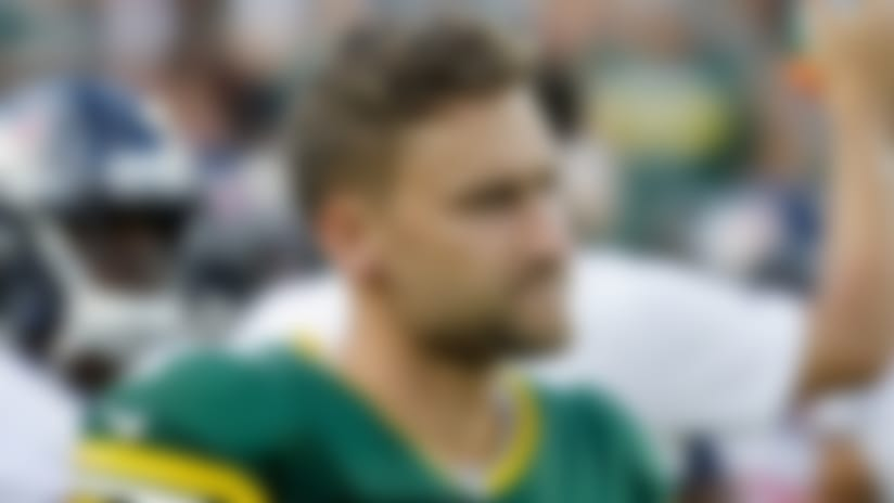 Green Bay Packers kicker Sam Ficken warns up before the start of an NFL preseason football game against the Houston Texans Thursday, Aug. 8, 2019, in Green Bay, Wis. (AP Photo/Mike Roemer)