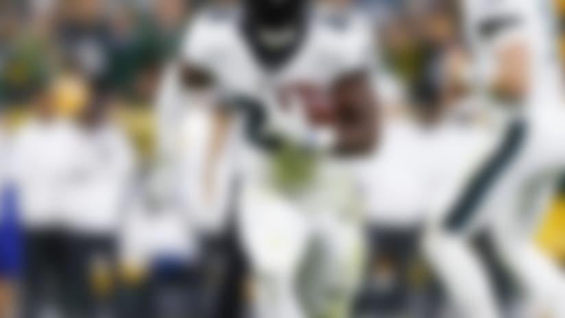Philadelphia Eagles running back Jordan Howard (24) runs the football during an NFL football game against the Green Bay Packers, Thursday, Sept. 26, 2019, in Green Bay, Wis. The Eagles defeated the Packers, 34-27. (Ryan Kang via AP)