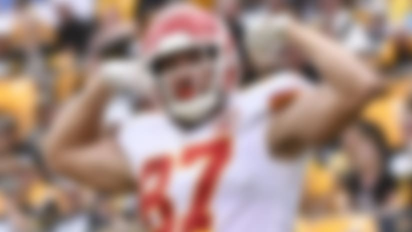 Kansas City Chiefs tight end Travis Kelce (87) celebrates after making a touchdown catch in an NFL football game against the Pittsburgh Steelers, Sunday, Sept. 16, 2018, in Pittsburgh. (AP Photo/Don Wright)