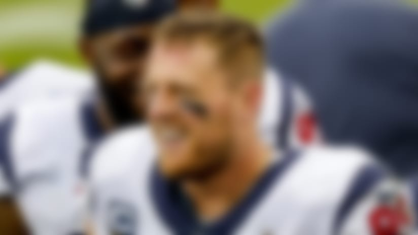 Houston Texans defensive end J.J. Watt smiles along the sidelines in action against the Tennessee Titans during an NFL football game Sunday, Oct. 18, 2020, in Nashville. The Titans won in overtime, 42-36. (G. Newman Lowrance via AP)