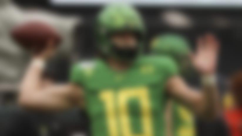 Oregon quarterback Justin Herbert (10) warms up prior to the start of an NCAA college football game against Oregon State in Eugene, Ore., Saturday, Nov. 30, 2019. Oregon won 24-10. (AP Photo/Amanda Loman)