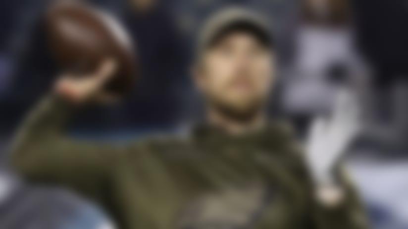 Philadelphia Eagles quarterback Nick Foles works out prior to an NFL football game against the Dallas Cowboys, Sunday, Nov. 11, 2018, in Philadelphia. (AP Photo/Matt Slocum)