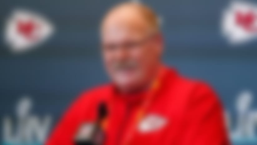 Kansas City Chiefs head coach Andy Reid speaks during a news conference on Tuesday, Jan. 28, 2020, in Aventura, Fla., for NFL Super Bowl 54 football game. (AP Photo/Brynn Anderson)